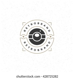Photo Camera Design Element in Vintage Style for Photographer Logotype, Label, Badge and other design. Photo Camera retro vector illustration.