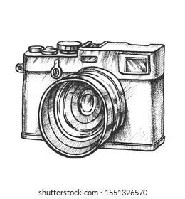 Photo Camera Digital Gadget Monochrome Vector. Ancient Photography Camera. Photograph Technological Accessory Engraving Concept Layout Designed In Vintage Style Black And White Illustration