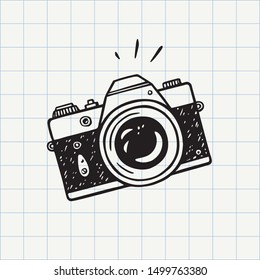Photo camera doodle icon. Hand drawn sketch in vector