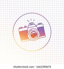 Photo camera doodle icon. Hand drawn sketch. Vector illustation.