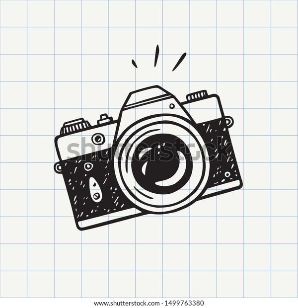 Image Vectorielle De Stock De Icone Doodle De La Camera Photo 1499763380