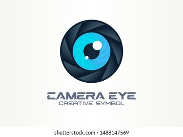 Photo camera eye, digital vision creative symbol concept. Cctv, video monitoring abstract business logo idea. Diaphragm, shutter lens icon. Corporate identity logotype, company graphic design tamplate