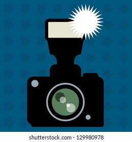 Photo Camera and flash abstract, vector illustration