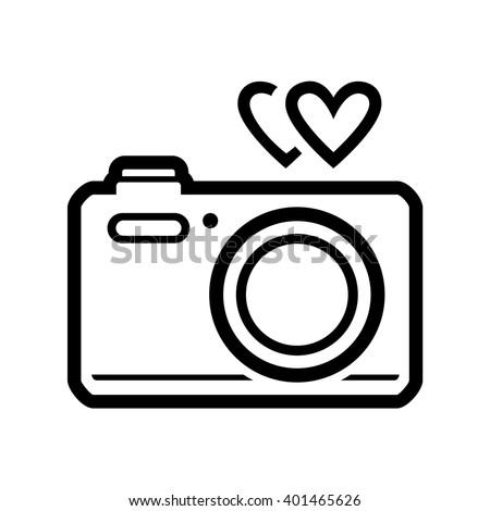 Photo Camera Heart Vector Icon Black Stock Vector Royalty Free
