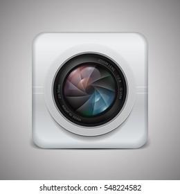 Photo camera icon. Camera photo lens with shutter. Vector illustration.