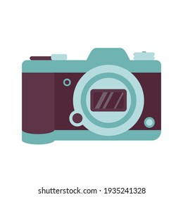 Photo camera icon. A modern fashion accessory and element for photographing beautiful places. For travel, vacation and recreation. Vector illustration