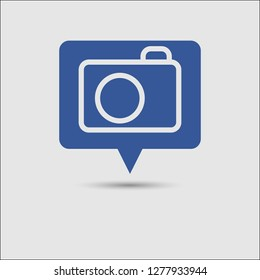 Photo camera icon as social media popup notification message window with blue background and drop shadow