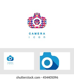 Photo camera icon vector design elements with business card template editable