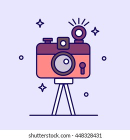 Photo camera icon. Vector illustration.