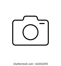 Photo camera icon vector illustration. Linear symbol with thin outline. The thickness is edited. Minimalist style. Exclusive quality of execution in material design. Line thickness 20 px