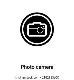 Photo camera icon vector isolated on white background, logo concept of Photo camera sign on transparent background, filled black symbol