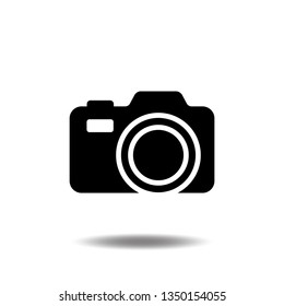 Photo Camera icon vector Photography flat sign symbols logo illustration isolated on white background beautiful black color.