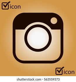 Photo camera icon.Social media sign simbol. Hipster camera.