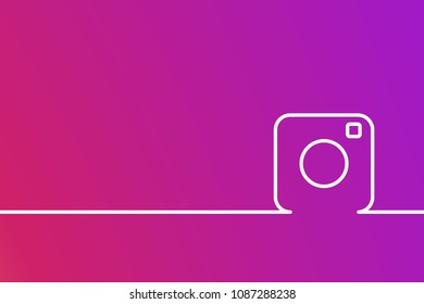 Photo camera line icon on colorful smooth color gradient background. Vector illustration. EPS 10