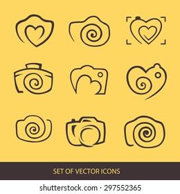 Photo. Camera, logo set. Trendy Hipster fashion of graphical elements. vector icon