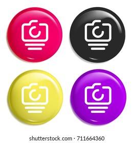 Photo camera multi color glossy badge icon set. Realistic shiny badge icon or logo mockup