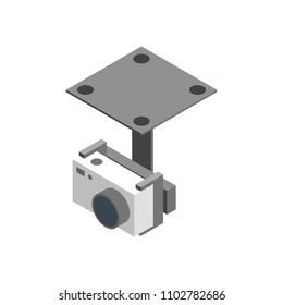 Photo Camera for Multicopter Isometric View on a White Background Professional Device . Vector illustration