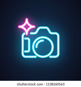Photo camera neon icon isolated on black background. Studio concept label or interface pictogram for games, websites and mobile apps. Photography symbol. Vector illustration