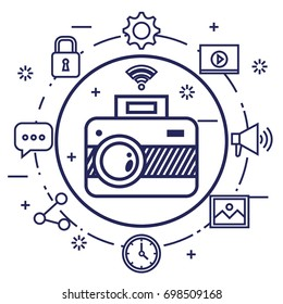 photo camera network multimedia web app icons