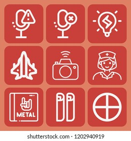 Photo camera, nurse, idea, blueprint, aeroplane, target, album icon set suitable for info graphics, websites and print media and interfaces