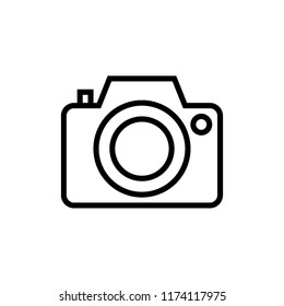Photo Camera Outline Icon Vector