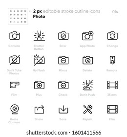 Photo Camera outline vector icons. Flash, Film, Don't Take Photos. Perfect pixel. Editable stroke