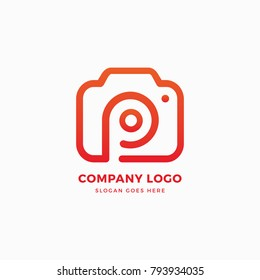 Photo Camera P Letter Logo Design Template