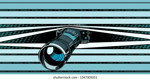 photo camera peeping surveillance. privacy. Comic cartoon pop art vector retro vintage drawing