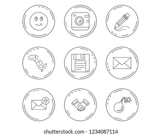 Photo camera, pencil and handshake icons. Inbox e-mail, message speech bubble and smile linear signs. Linear Circles web buttons with icons. Vector