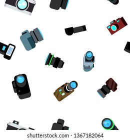Photo Camera Seamless Pattern Vector. Photocamera Retro Icon. Travel. Cute Graphic Texture. Textile Backdrop. Cartoon Background Illustration