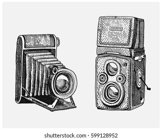 Photo camera set vintage, engraved hand drawn in sketch or wood cut style, old looking retro lens, isolated vector realistic illustration