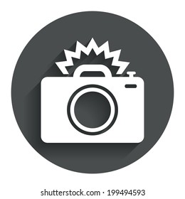Photo camera sign icon. Photo flash symbol. Circle flat button with shadow. Modern UI website navigation. Vector