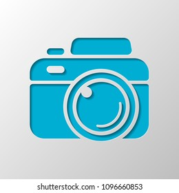 Photo camera, simple icon. Paper design. Cutted symbol with shadow