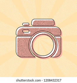 Photo camera, simple icon. Vintage retro typography with offset printing effect. Dots poster with comics pop art background