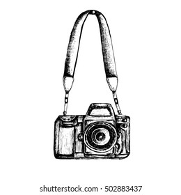 Photo camera with strap ink vector illustration. Hand-drawn sketch of retro photo camera on isolated background.