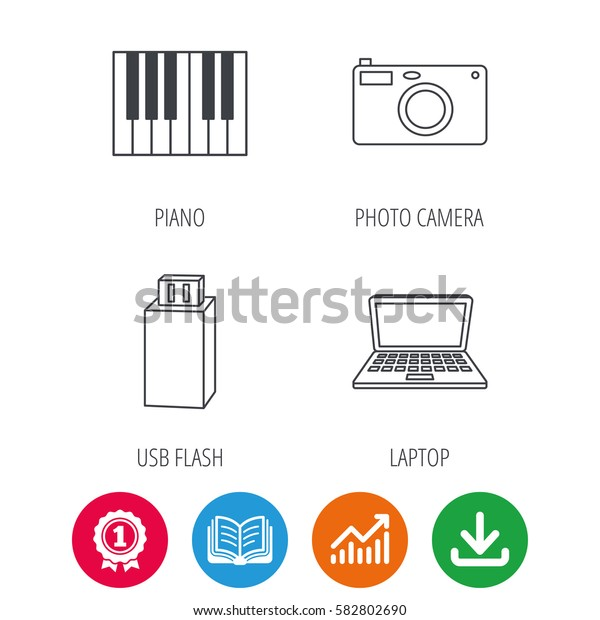 Photo camera, USB flash and notebook laptop icons. Piano linear sign. Award medal, growth chart and opened book web icons. Download arrow. Vector