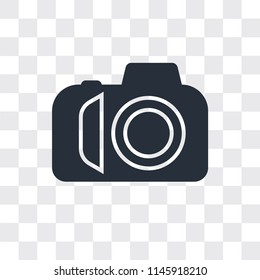 Photo camera vector icon isolated on transparent background, Photo camera logo concept