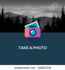 Photo camera web icon flat design, vector image.