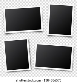 Photo card frame,film set. Retro vintage photograph with shadow. Digital snapshot image. Photography art. Template or mockup for design. Vector illustration
