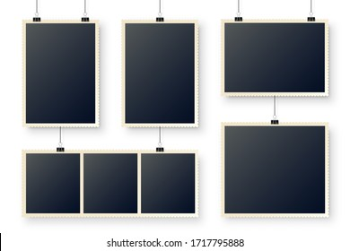 Photo card hanging on paper clips. Digital snapshot frame, photography. Vintage retro photograph. Mockup for design. Vector illustration.