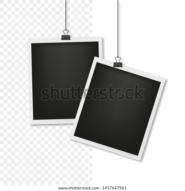 photo card on the thread with shadow, transparent background