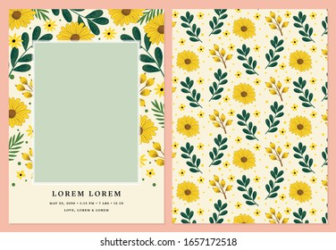Photo Card Vector Template for Birth Announcements, Birthdays and Baby Showers featuring Sun Flowers.