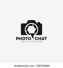 Photo chat logo template design with camera and shutter. Vector illustration.