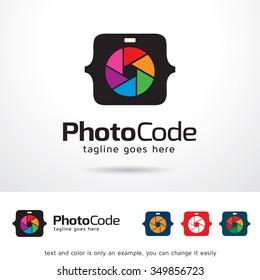 Photo Code Logo Template Design Vector