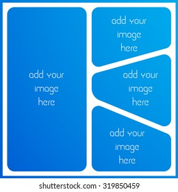 photo collage frame, empty frame with places for design,  vector template