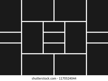 Photo collage. Image frames template. Picture montage abstract vector background. Illustration of frame photo collage black white, photoframe border