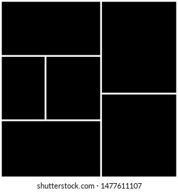 Photo collage  Template for wall gallery. Black empty photo with white border.Vector Mood Board & Branding Presentation.