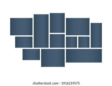 Photo collages, frames. Photo montage. Geometric rectangular shape. Vector illustration template.
