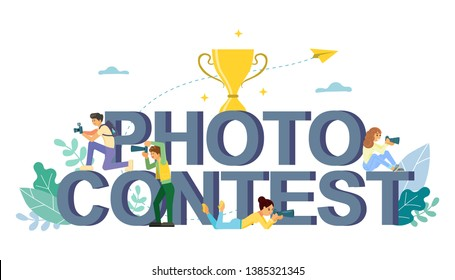 Photo contest words in capital letters, award cup, boys and girls taking photo with cameras. Vector flat style design illustration. Photography competition concept for web banner, website page etc.