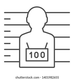 Photo of the criminal thin line icon. Criminal with badge vector illustration isolated on white. Prisoner outline style design, designed for web and app. Eps 10